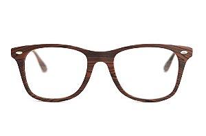 Óculos Unisex imita madeira - Injetado - Modelo: Marron Escura - Atacado de Oculos