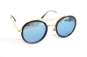 Oculos de Sol Redondo lente espelhada azul Feminino - Oculos Barato para revenda - atacado de oculos de sol