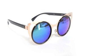 Oculos de Sol redondo gatinho feminino espelhado azul - Oculos Barato para revenda - atacado de oculos de sol