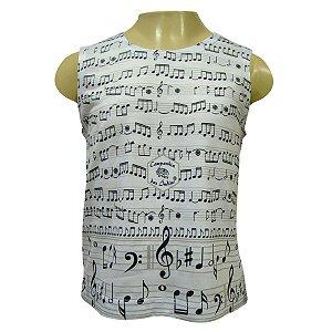 Camiseta Infantil Sem Manga - Notas Musicais