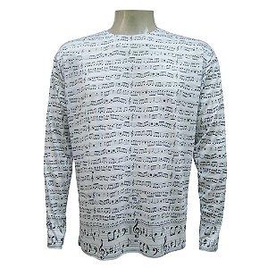 Camiseta Manga Longa - Notas Musicais