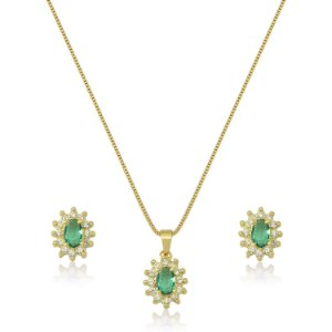 Conjunto Oval com Zircônias nas cores Cristal e Verde