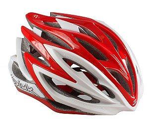 Capacete Para Ciclismo Spiuk Dharma Banco e Vermelho- Mountain Bike ou Speed