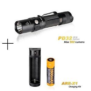 Kit Lanterna PD32- 900 Lumens + ARE X1 + Bateria 2600mAh