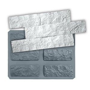 PRO 102 - Forma ABS 1.5 mm Gesso/Cimento - Rockface 6 pçs de 21 x 8 cm