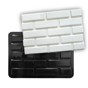 BLACK 61 - Forma ABS 2mm Gesso/Cimento - Tijolinho Liso 44,5 X 30 cm