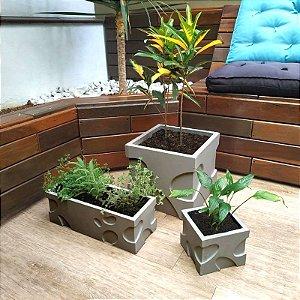 ART 844 - Kit 3 Formas Vaso, Mini Vaso e Jardineira - ABS 1.5 mm 30x30, 40x15 e 15x15 cm