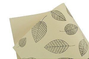 Decor Folhas Creme - Preto