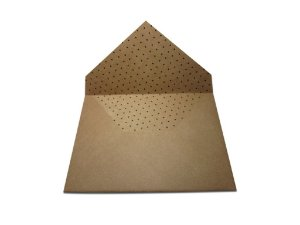 Envelopes 165 x 225 mm - Papel Kraft Decor Bolinhas Pretas - Lado Interno