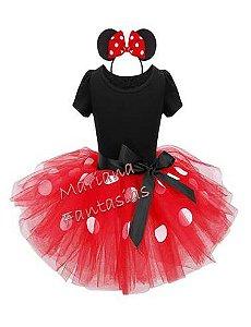 Fantasia de Ratinha estilo Minnie Tutu vermelho