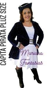 Fantasia Capitã Pirata Luxo Pluz Size