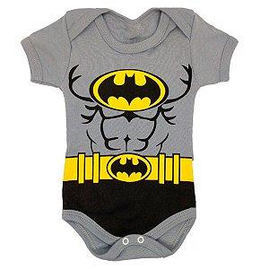 Body Batman Bebê Cinza - Pronta Entrega