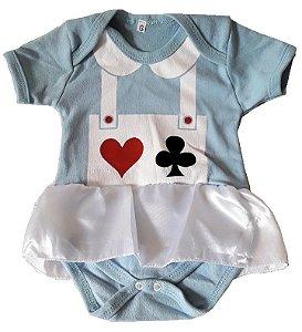 Body Alice no País das Maravilhas Bebê -Pronta Entrega