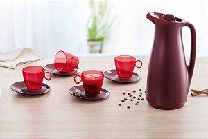 Tupperware Garrafa Térmica Café Merlot 1 litro + 4 xícaras 180ml
