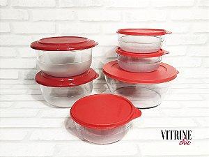 Tupperware Kit Policarbonato Cristal  Vermelho 6 peças