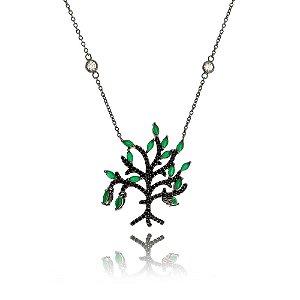 """Gargantilha """"Árvore da vida"""" com cristais verde"""