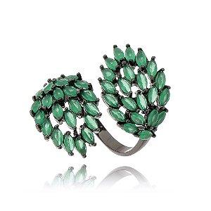 Anel cristais verde em ródio negro