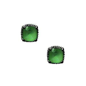 Brinco Pedra Verde Paraíba em banho de ródio negro