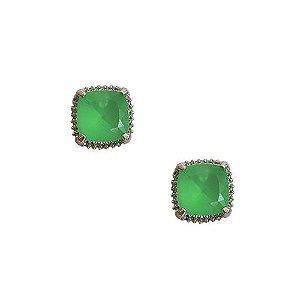 Brinco Pedra Verde Paraíba em banho de ródio branco