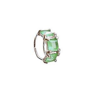 Piercing Falso Pedra quadrada Verde Paraíba em banho de ródio branco ou negro