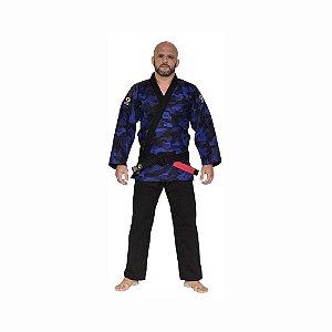 Kimono Jiu-Jitsu Trançado Camuflado Azul Adulto Marca Aranha
