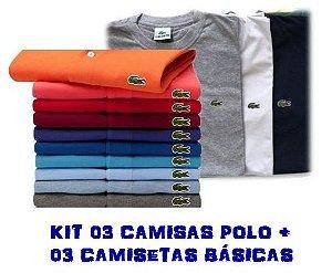 KIT COM 3 CAMISAS POLO E 3 CAMISAS BÁSICAS - LACOSTE ce96a8206dc9b