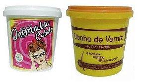 Cronograma Capilar Desmaia Cabelo + Banho De Verniz Bella Gold 2X 1KG