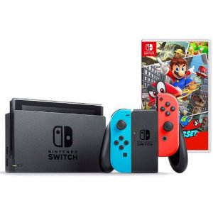 Nintendo Switch Neon + Super Mario Odyssey