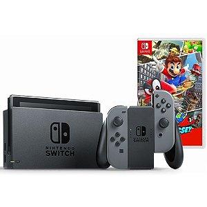 Nintendo Switch Cinza + Super Mario Odyssey