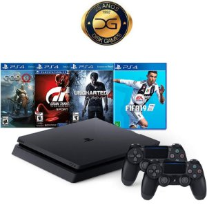 PlayStation 4 Slim 1TB com 2 controles e 4 jogos (God of War, Gran Turismo, Uncharted 4 e Fifa 19)