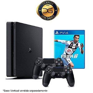 PlayStation 4 Slim 1TB com 2 controle + Fifa 19 Nacional