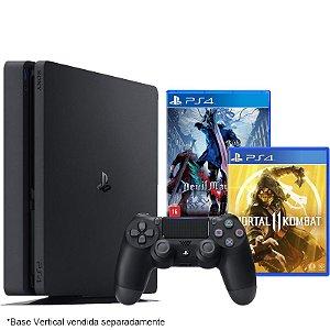 PlayStation 4 Slim 500 GB com jogo Devil May Cry 5 + Mortal Kombat 11