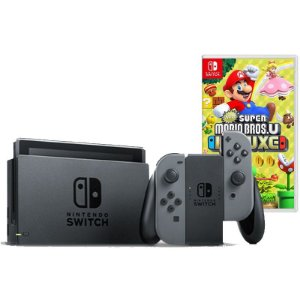 Nintendo Switch Cinza + New Super Mario Bros U Deluxe