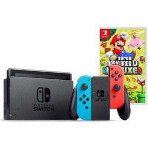 Nintendo Switch Neon + New Super Mario Bros U Deluxe