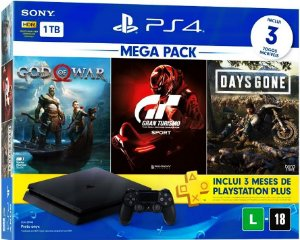 PlayStation 4 Slim 1TB Bundle com 3 jogos (God Of War, Gran Turismo Sport, Days Gone)
