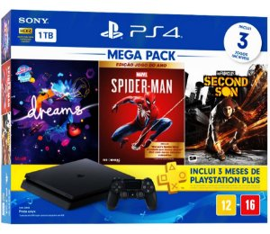 PlayStation 4 Slim 1TB Bundle com 3 jogos ( Dreams, Marvel Spider Man, Infamous Second Son )