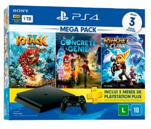 PlayStation 4 Slim 1TB Bundle com 3 jogos (Knack, Concrete Genie, Ratchet Clank)