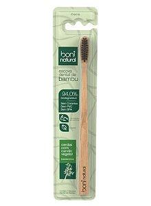 Escova Dental Boni Natural vegana, cabo de bambu e cerdas de carvão