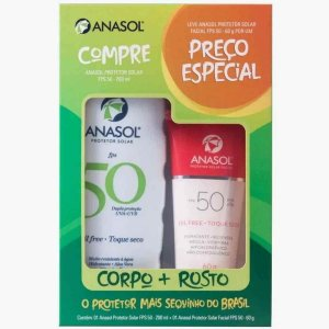 Kit Protetor Solar Corpo FPS50 200 + Facial FPS50 60g - Anasol