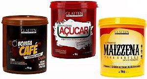 Kit Glatten - Bomba De Café + Hidratação de Açúcar +Alizamento Maizzena