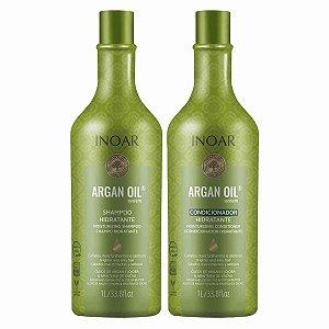 Kit Argan Oil Shampoo E Condicionador Brilho e Sedoso 1 Litro - Inoar