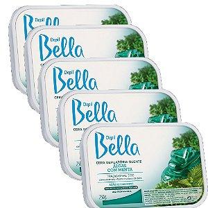5 un Cera Depilatória Algas com Menta Depil Bella 1kg