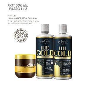 Kit Blue Gold 500 ML Escova Progressiva + Oka Ojon Brinde