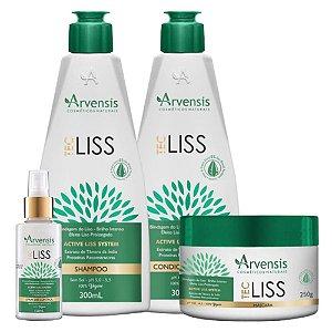 Kit Arvensis Tec Liss Vegano Sh/Cond/Máscara/Spray Control