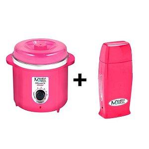 Panela Termocera De Cera 400g Pink +Roll On Pink Mega
