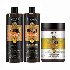 Kit Inoar Blends Duo Profissional Shampoo e Condicionador 1L + Creme para Pentear Blends 1kg