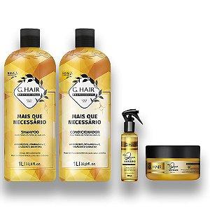 Kit G-Hair + Que Necessário Sh.+Cond. 1l +Spray+ Mascara250g
