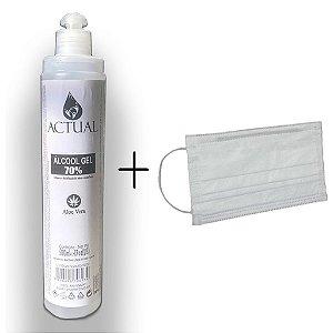 Kit Álcool em Gel 70% 500ml +10  Máscaras de Proteção TNT