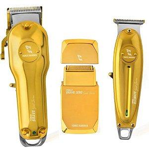Kit De 3 Máquinas Force Barber - Gold Séries Bivolt