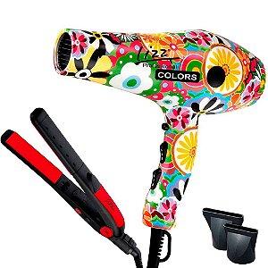Kit Secador Lizz Colors 2100w 110v + Prancha Passione Bivolt